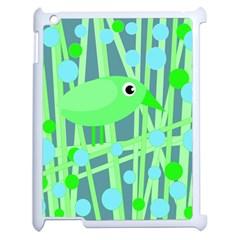 Green bird Apple iPad 2 Case (White)