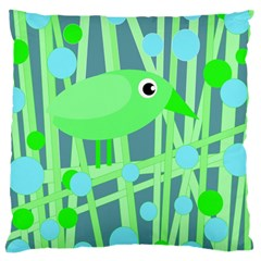 Green bird Large Cushion Case (Two Sides)