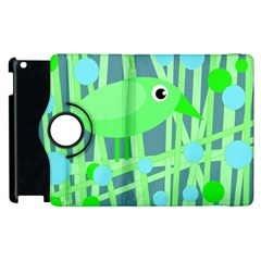 Green bird Apple iPad 2 Flip 360 Case