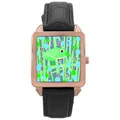 Green bird Rose Gold Leather Watch