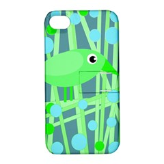 Green Bird Apple Iphone 4/4s Hardshell Case With Stand