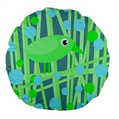 Green bird Large 18  Premium Flano Round Cushions