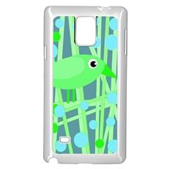 Green bird Samsung Galaxy Note 4 Case (White)