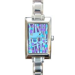 Blue and purple bird Rectangle Italian Charm Watch