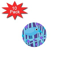 Blue and purple bird 1  Mini Buttons (10 pack)