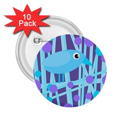 Blue and purple bird 2.25  Buttons (10 pack)