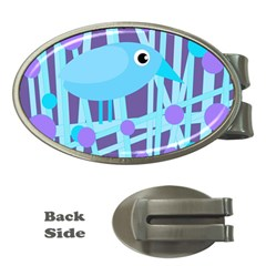Blue and purple bird Money Clips (Oval)