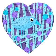 Blue and purple bird Jigsaw Puzzle (Heart)