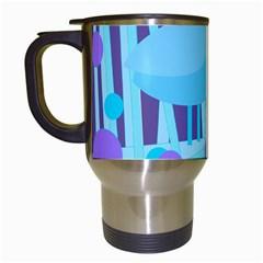 Blue and purple bird Travel Mugs (White)