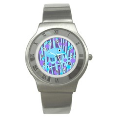 Blue and purple bird Stainless Steel Watch