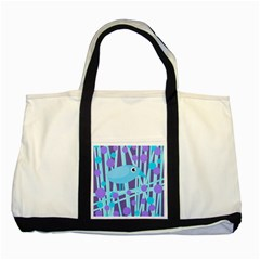 Blue and purple bird Two Tone Tote Bag