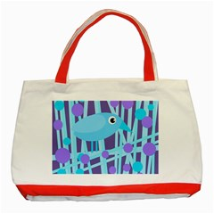 Blue and purple bird Classic Tote Bag (Red)