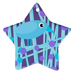 Blue and purple bird Star Ornament (Two Sides)
