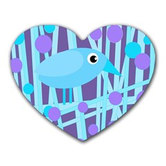 Blue and purple bird Heart Mousepads
