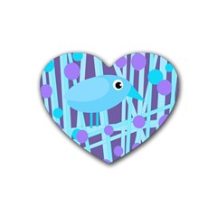 Blue and purple bird Rubber Coaster (Heart)
