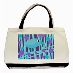 Blue and purple bird Basic Tote Bag (Two Sides)