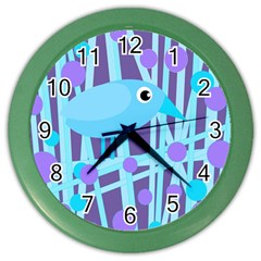 Blue and purple bird Color Wall Clocks