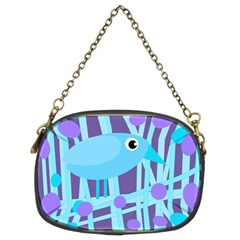 Blue and purple bird Chain Purses (Two Sides)