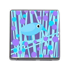 Blue and purple bird Memory Card Reader (Square)