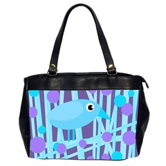 Blue and purple bird Office Handbags (2 Sides)