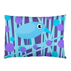 Blue and purple bird Pillow Case (Two Sides)