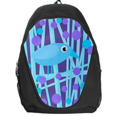 Blue and purple bird Backpack Bag