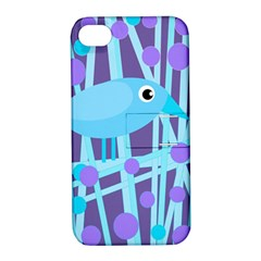 Blue and purple bird Apple iPhone 4/4S Hardshell Case with Stand