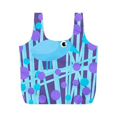 Blue and purple bird Full Print Recycle Bags (M)