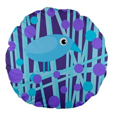 Blue and purple bird Large 18  Premium Flano Round Cushions