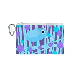 Blue and purple bird Canvas Cosmetic Bag (S)