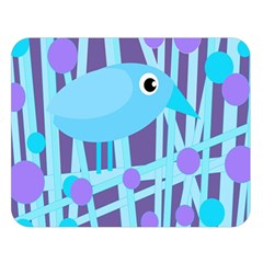 Blue and purple bird Double Sided Flano Blanket (Large)