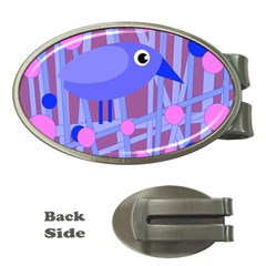 Purple and blue bird Money Clips (Oval)