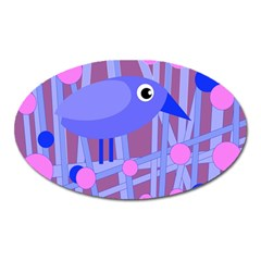 Purple and blue bird Oval Magnet