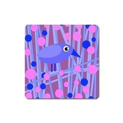 Purple and blue bird Square Magnet
