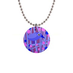 Purple and blue bird Button Necklaces