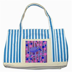 Purple and blue bird Striped Blue Tote Bag