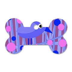 Purple and blue bird Dog Tag Bone (Two Sides)