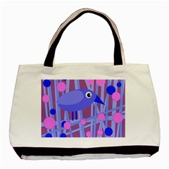 Purple and blue bird Basic Tote Bag (Two Sides)