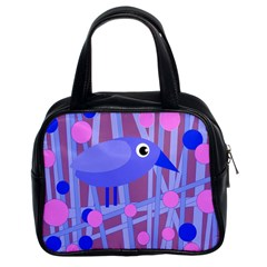 Purple and blue bird Classic Handbags (2 Sides)