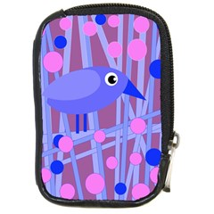 Purple and blue bird Compact Camera Cases
