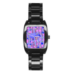 Purple and blue bird Stainless Steel Barrel Watch