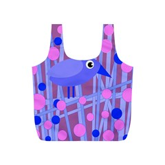 Purple and blue bird Full Print Recycle Bags (S)