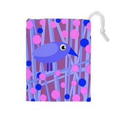 Purple and blue bird Drawstring Pouches (Large)