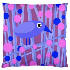 Purple and blue bird Large Flano Cushion Case (Two Sides)