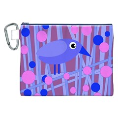 Purple and blue bird Canvas Cosmetic Bag (XXL)
