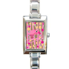 Pink bird Rectangle Italian Charm Watch