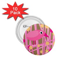 Pink bird 1.75  Buttons (10 pack)