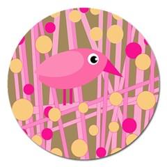 Pink bird Magnet 5  (Round)