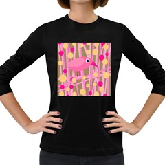 Pink bird Women s Long Sleeve Dark T-Shirts
