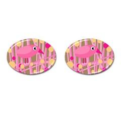 Pink bird Cufflinks (Oval)